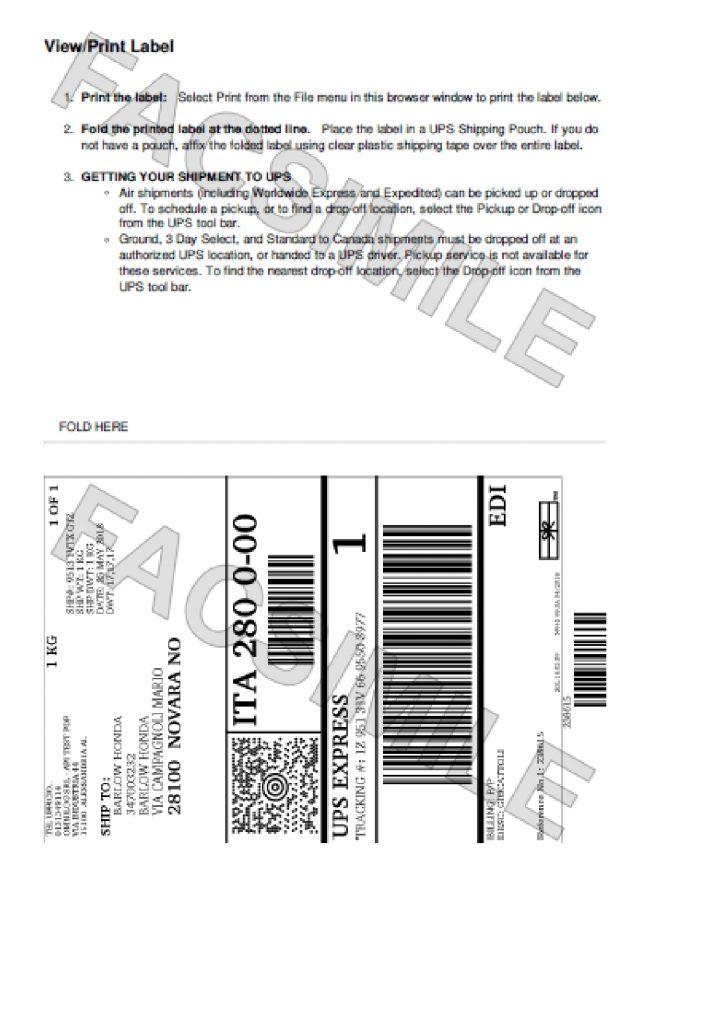 Etichetta UPS A4