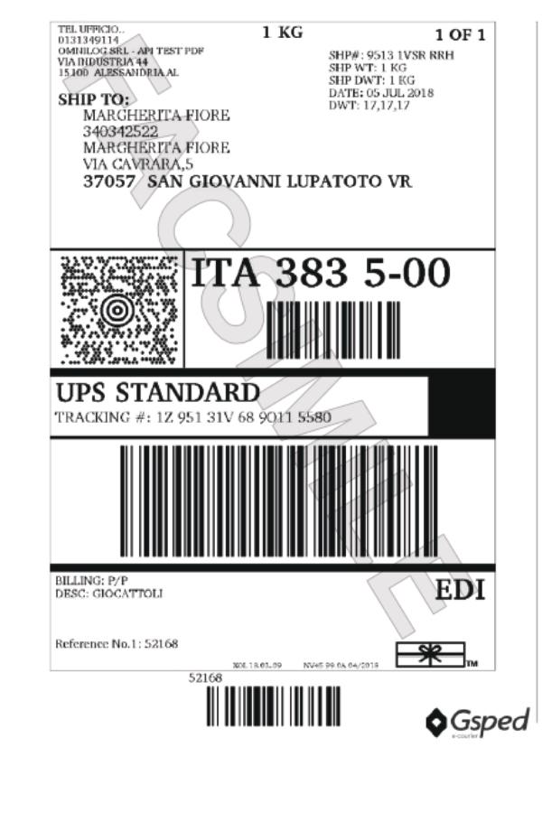 Etichetta UPS Zebra