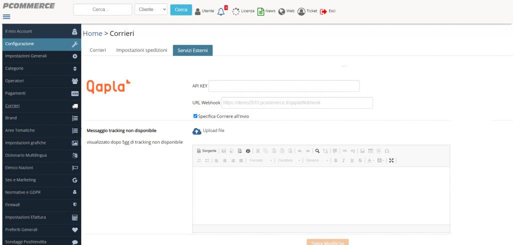 Dashboard per abilitare account Qapla'