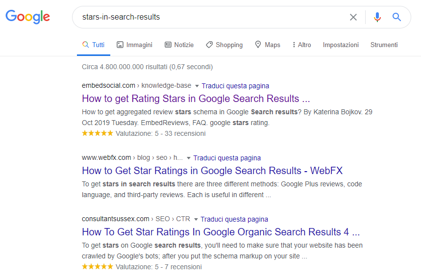 rating in serp google