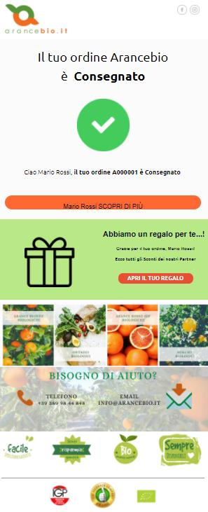 template email consegna Arancebio: integrazione Qapla' e Transactionale