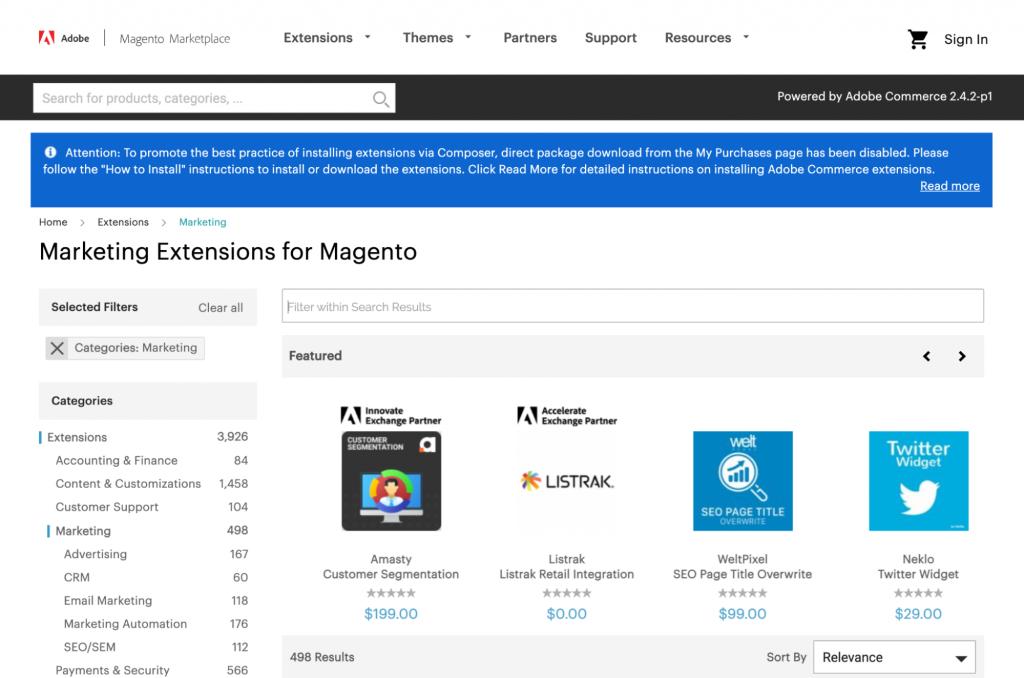 Marketplace estensioni Magento